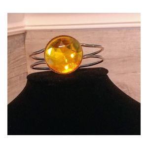 Women's Cufflink Bracelet with Orange Jewel